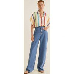 Mango - Koszula Carioca. Szare koszule damskie Mango, l, w paski, z materiału, klasyczne, z klasycznym kołnierzykiem, z krótkim rękawem. W wyprzedaży za 89,90 zł.