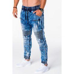 SPODNIE MĘSKIE JOGGERY P675 - NIEBIESKIE. Niebieskie joggery męskie Ombre Clothing, z bawełny. Za 89,00 zł.