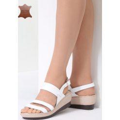 Białe Skórzane Sandały Show Me. Białe sandały damskie vices, na koturnie. Za 99,99 zł.
