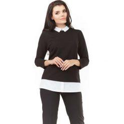 Bluzki damskie: Czarna Elegancka Bluzka 2 w 1 z Białym Kołnierzykiem