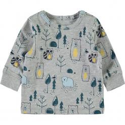 """Koszulka """"Seb"""" w kolorze szarym. Szare t-shirty chłopięce z długim rękawem marki Name it Baby, z bawełny. W wyprzedaży za 29,95 zł."""