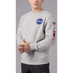BLUZA SPACE SHUTTLE SWEATER GREY HEATHER. Szare bluzy męskie Alpha Industries. Za 239,99 zł.