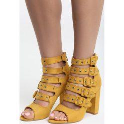 Żółte Sandały Little Curtsy. Żółte sandały damskie na słupku Born2be, z materiału, na wysokim obcasie. Za 119,99 zł.