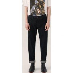 Jeansy męskie regular: Czarne jeansy re.design - Czarny