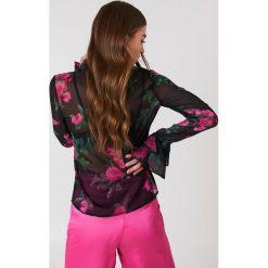 Bluzki asymetryczne: NA-KD Boho Szyfonowa bluzka z rękawami z falbaną - Black,Multicolor