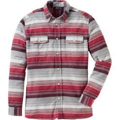 Koszula flanelowa Regular Fit bonprix szaro-czerwony w paski. Szare koszule męskie na spinki bonprix, m, w paski. Za 69,99 zł.