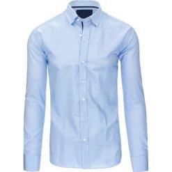 Koszule męskie: Błękitna koszula męska w paski z długim rękawem (dx1306)