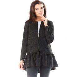 Swetry rozpinane damskie: Grafitowy Długi Sweter na Suwak z Falbanką