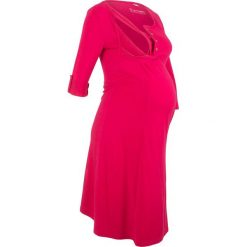 Sukienka shirtowa ciążowa i do karmienia bonprix czerwień granatu. Czerwone sukienki ciążowe marki bonprix, z okrągłym kołnierzem, moda ciążowa. Za 59,99 zł.