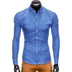 KOSZULA MĘSKA W KRATĘ Z DŁUGIM RĘKAWEM K400 - CIEMNONIEBIESKA. Niebieskie koszule męskie na spinki Ombre Clothing, m, z długim rękawem. Za 59,00 zł.