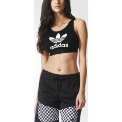 Adidas Originals Koszulka damska Top Trefoil Top czarna r. 38  (AJ8110). Szare topy sportowe damskie marki adidas Originals, na co dzień, z nadrukiem, z bawełny, casualowe, z okrągłym kołnierzem, proste. Za 112,74 zł.