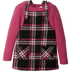Sukienki dziewczęce: Sukienka na ramiączkach + shirt z długim rękawem (2 części) bonprix czarno-jeżynowy wzorzysty