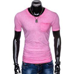 T-SHIRT MĘSKI BEZ NADRUKU S674 - RÓŻOWY. Czerwone t-shirty męskie z nadrukiem marki Ombre Clothing, m, z bawełny. Za 24,99 zł.