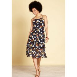 Sukienki hiszpanki: Krótka sukienka z kwiatowym nadrukiem, rozszerzana, rozkloszowana