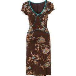 Sukienki hiszpanki: Sukienka bonprix brązowo-turkusowy wzorzysty