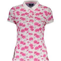 Bluzki damskie: Koszulka polo w kolorze biało-różowym