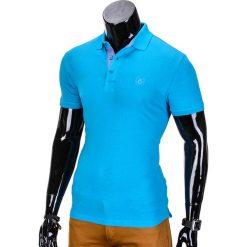 KOSZULKA MĘSKA POLO BEZ NADRUKU S837 - TURKUSOWA. Czarne koszulki polo marki Ombre Clothing, m, z bawełny, z kapturem. Za 39,00 zł.