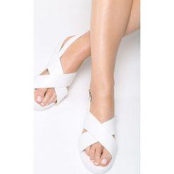 Białe Sandały Righteous. Białe sandały damskie marki Born2be, z materiału, na obcasie. Za 79,99 zł.