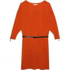 Sukienka kaszmirowa w kolorze jasnobrązowym. Brązowe sukienki na komunię Ateliers de la Maille, na imprezę, w paski, z kaszmiru, z okrągłym kołnierzem, midi. W wyprzedaży za 591,95 zł.