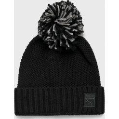 Puma - Czapka. Czarne czapki zimowe damskie Puma, na zimę, z dzianiny. Za 99,90 zł.