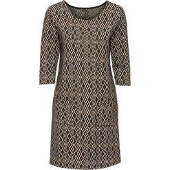 Sukienki hiszpanki: Sukienka żakardowa bonprix brązowy wzorzysty