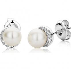 Złote kolczyki-wkrętki z diamentami i perłami. Białe kolczyki damskie REVONI, z diamentem, złote. W wyprzedaży za 603,95 zł.
