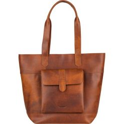 Shopper bag damskie: Skórzany shopper bag w kolorze brązowym – 42 x 34 x 11 cm