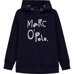Bluza w kolorze granatowym. Białe bluzy dziewczęce marki Marc O'Polo Junior, z nadrukiem, z okrągłym kołnierzem, z długim rękawem. W wyprzedaży za 105,95 zł.