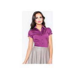 Koszula M026 Bakłażan. Szare koszule damskie marki FIGL, m, z bawełny, eleganckie, z asymetrycznym kołnierzem, z długim rękawem. Za 73,00 zł.