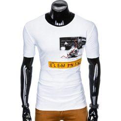 T-shirty męskie: T-SHIRT MĘSKI Z NADRUKIEM S985 - BIAŁY