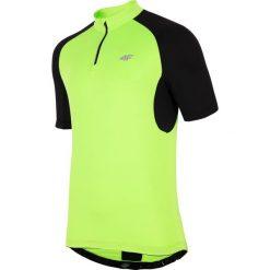 Koszulka rowerowa męska RKM001 - soczysta zieleń neon. Zielone odzież rowerowa męska 4f, m, z nadrukiem, z elastanu, z dekoltem na plecach. Za 99,99 zł.