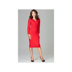 Sukienka K477 Czerwony. Czerwone sukienki hiszpanki Lenitif, xl, z dekoltem w serek, z długim rękawem. Za 179,00 zł.