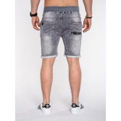 KRÓTKIE SPODENKI MĘSKIE JEANSOWE P510 - SZARE. Szare spodenki jeansowe męskie marki Ombre Clothing, eleganckie. Za 59,00 zł.