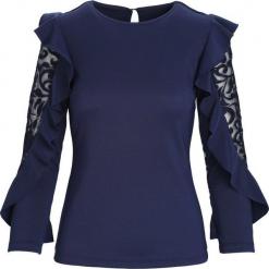 Granatowa Koszula Solemnly. Niebieskie koszule damskie Born2be, l, z koronki, wizytowe, z okrągłym kołnierzem. Za 49,99 zł.