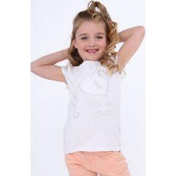 T-shirty dziewczęce: Koszulka z koronkowymi rękawami biała NDZ8147
