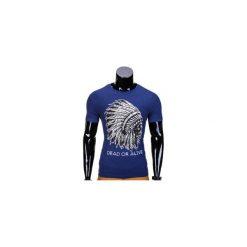 T-SHIRT MĘSKI Z NADRUKIEM S613 - JASNOGRANATOWY. Czarne t-shirty męskie z nadrukiem marki Ombre Clothing, m, z bawełny, z kapturem. Za 29,00 zł.