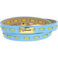 Bransoletki damskie: Skórzana bransoletka w kolorze błękitno-żółtym