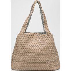 Answear - Torebka dwustronna. Szare torebki klasyczne damskie marki ANSWEAR, w paski, z materiału, duże. W wyprzedaży za 119,90 zł.