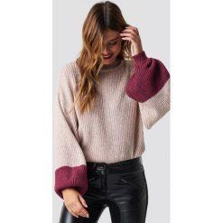 Trendyol Sweter z bufiastym rękawem - Pink. Różowe swetry klasyczne damskie Trendyol, z dzianiny. Za 100,95 zł.