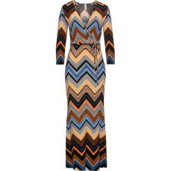 Sukienki: Sukienka w deseń etno bonprix brązowo-beżowo-niebieski z nadrukiem