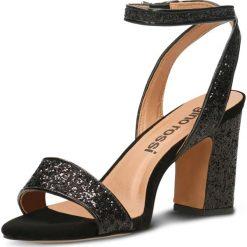 Sandały TAHIRA. Czarne sandały damskie na słupku marki Gino Rossi, w paski, z tworzywa sztucznego, na wysokim obcasie. Za 229,90 zł.