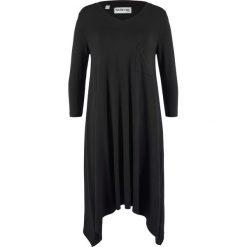 Sukienka shirtowa z dłuższymi bokami, rękawy 3/4, z kolekcji Maite Kelly bonprix czarny. Czarne sukienki z falbanami marki bonprix. Za 89,99 zł.