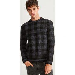 Sweter w kratkę - Szary. Szare swetry klasyczne męskie marki Reserved, l, w paski, z klasycznym kołnierzykiem. Za 99,99 zł.