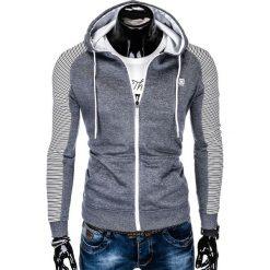 BLUZA MĘSKA ROZPINANA Z KAPTUREM B820 - NIEBIESKA/MELANŻOWA. Niebieskie bluzy męskie rozpinane marki Ombre Clothing, m, z bawełny, z kapturem. Za 69,00 zł.