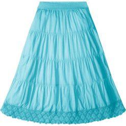 Spódniczka z koronką bonprix morski. Czarne spódniczki dziewczęce marki bonprix, w paski, z dresówki. Za 59,99 zł.