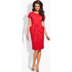 Elegancka sukienka z paskiem czerwony CELESTA. Niebieskie sukienki balowe marki numoco, na imprezę, s, w kwiaty, z jeansu, sportowe. Za 99,00 zł.