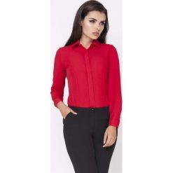 Czerwona Klasyczna Taliowana Koszula z Krytym Zapięciem. Czerwone koszule damskie marki Molly.pl, l, eleganckie, z klasycznym kołnierzykiem, z długim rękawem. W wyprzedaży za 115,23 zł.