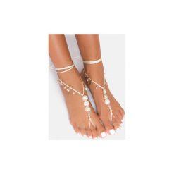 Bransoletki damskie: Biała bransoletka na stopę Flowers