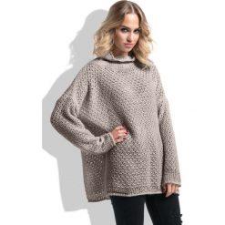 Golfy damskie: Mocca Oversizowy Moherowy Sweter z Golfem