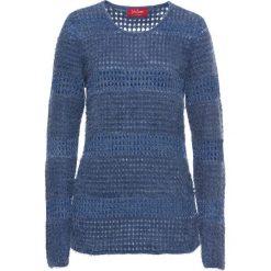 Sweter z lureksową nitką, długi rękaw bonprix indygo-srebrny. Niebieskie swetry klasyczne damskie bonprix. Za 79,99 zł.